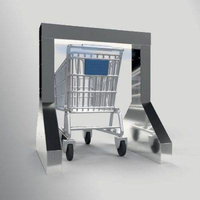 portique désinfection COVID-19 chariot grande distribution
